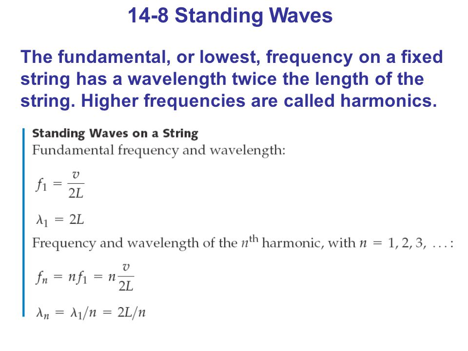 14-8 Standing Waves The fundamental, or lowest, frequency on a fixed string has a wavelength twice the length of the string.