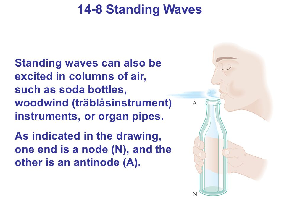 14-8 Standing Waves Standing waves can also be excited in columns of air, such as soda bottles, woodwind (träblåsinstrument) instruments, or organ pipes.