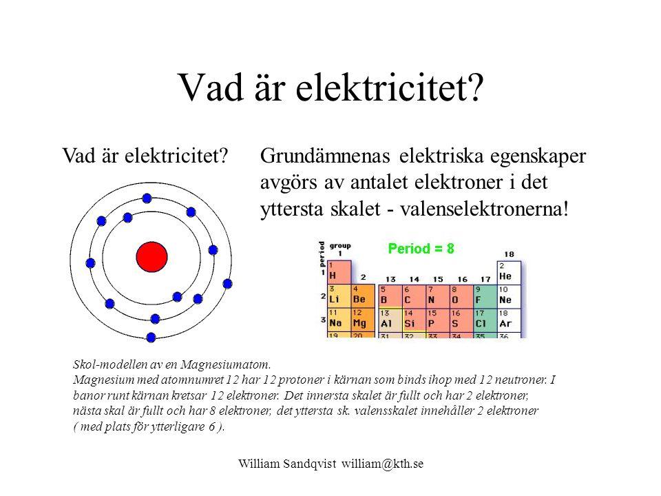 William Sandqvist william@kth.se Vad är elektricitet? Skol-modellen av en Magnesiumatom. Magnesium med atomnumret 12 har 12 protoner i kärnan som bind