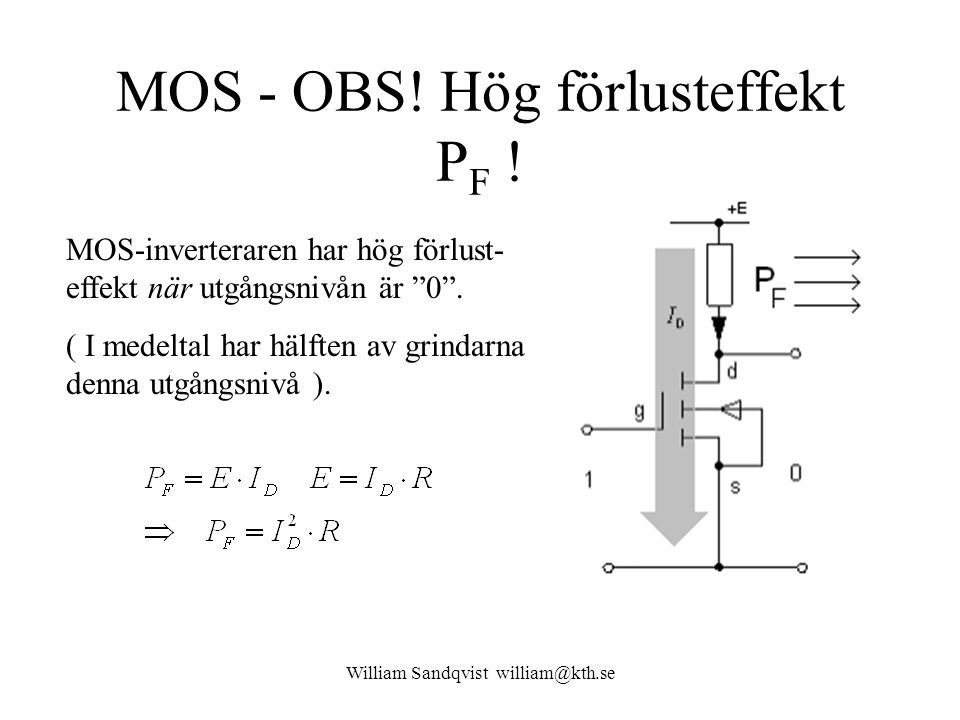 """William Sandqvist william@kth.se MOS - OBS! Hög förlusteffekt P F ! MOS-inverteraren har hög förlust- effekt när utgångsnivån är """"0"""". ( I medeltal har"""