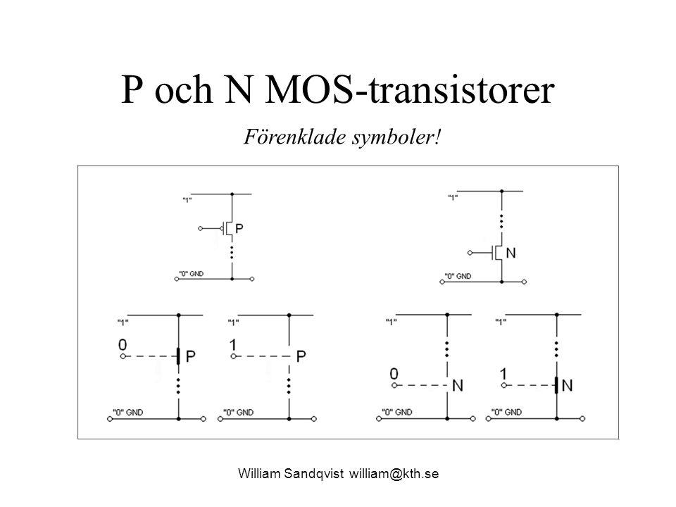 P och N MOS-transistorer William Sandqvist william@kth.se Förenklade symboler!
