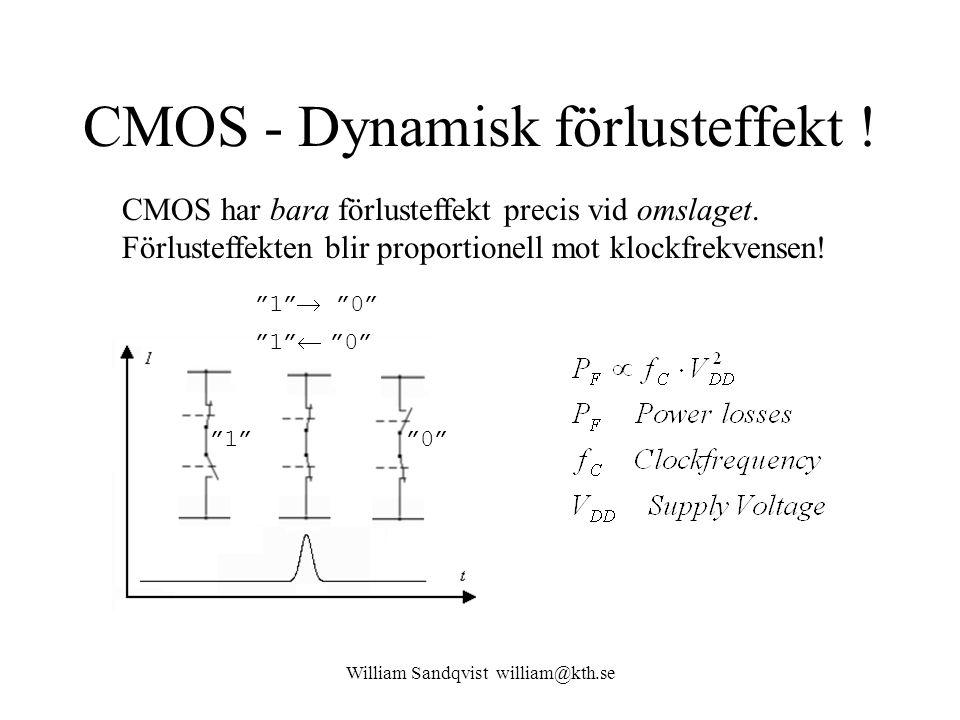 William Sandqvist william@kth.se CMOS - Dynamisk förlusteffekt ! CMOS har bara förlusteffekt precis vid omslaget. Förlusteffekten blir proportionell m