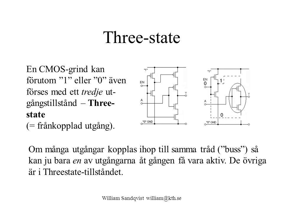 William Sandqvist william@kth.se Three-state En CMOS-grind kan förutom 1 eller 0 även förses med ett tredje ut- gångstillstånd – Three- state (= frånkopplad utgång).
