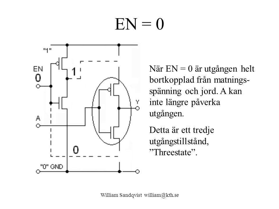 EN = 0 William Sandqvist william@kth.se När EN = 0 är utgången helt bortkopplad från matnings- spänning och jord. A kan inte längre påverka utgången.