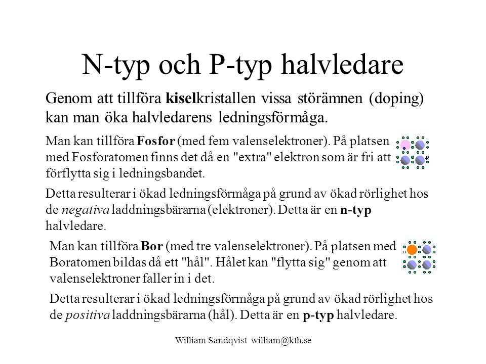 William Sandqvist william@kth.se N-typ och P-typ halvledare Genom att tillföra kiselkristallen vissa störämnen (doping) kan man öka halvledarens ledningsförmåga.