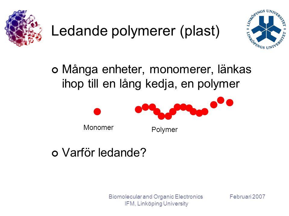 Februari 2007Biomolecular and Organic Electronics IFM, Linköping University Ledande polymerer (plast) Många enheter, monomerer, länkas ihop till en lång kedja, en polymer Varför ledande.