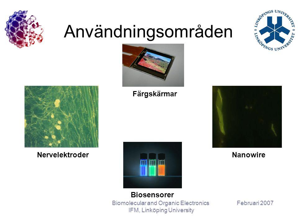 Februari 2007Biomolecular and Organic Electronics IFM, Linköping University Användningsområden Färgskärmar NervelektroderNanowire Biosensorer