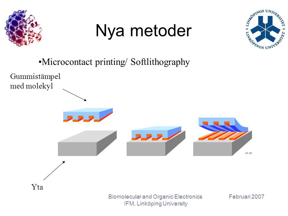 Februari 2007Biomolecular and Organic Electronics IFM, Linköping University Nya metoder Gummistämpel med molekyl Microcontact printing/ Softlithograph