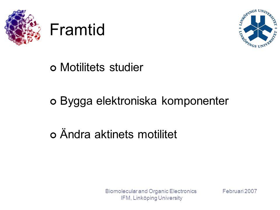 Februari 2007Biomolecular and Organic Electronics IFM, Linköping University Framtid Motilitets studier Bygga elektroniska komponenter Ändra aktinets motilitet