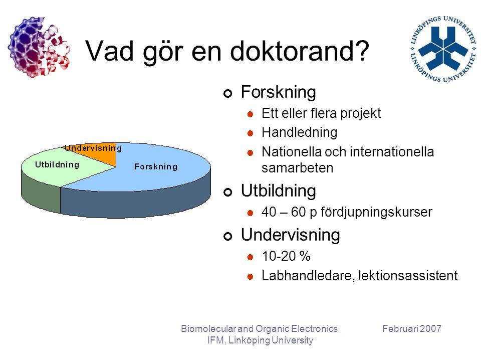 Februari 2007Biomolecular and Organic Electronics IFM, Linköping University Vad gör en doktorand? Forskning Ett eller flera projekt Handledning Nation