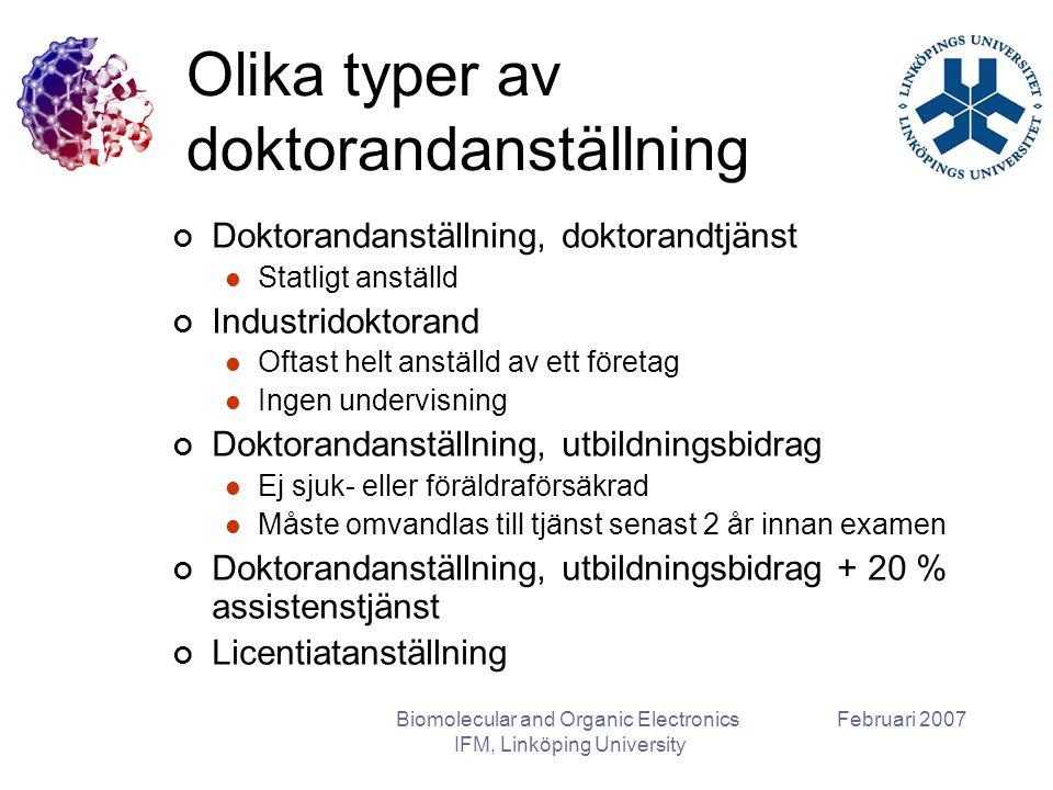 Februari 2007Biomolecular and Organic Electronics IFM, Linköping University Olika typer av doktorandanställning Doktorandanställning, doktorandtjänst