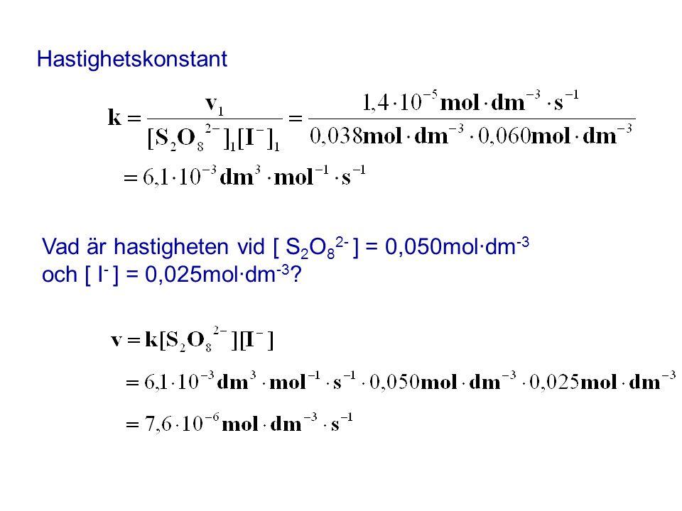 Hastighetskonstant Vad är hastigheten vid [ S 2 O 8 2- ] = 0,050mol·dm -3 och [ I - ] = 0,025mol·dm -3 ?