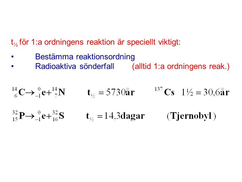 Specialfall: 1.A + B  AB,men [A] >> [B] Även om = k · [A] [B] blir reaktionen pseudo – första ordning m.