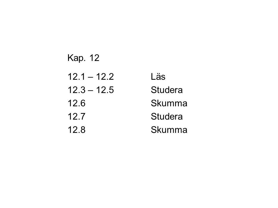 Kap. 12 12.1 – 12.2Läs 12.3 – 12.5Studera 12.6Skumma 12.7Studera 12.8Skumma