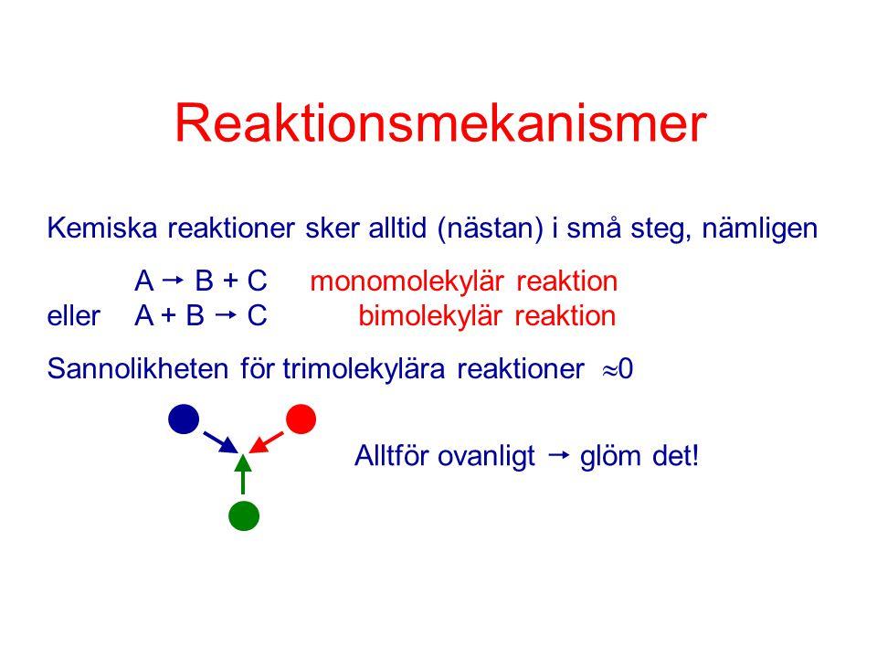 Reaktionsmekanismer Kemiska reaktioner sker alltid (nästan) i små steg, nämligen A  B + Cmonomolekylär reaktion ellerA + B  C bimolekylär reaktion S