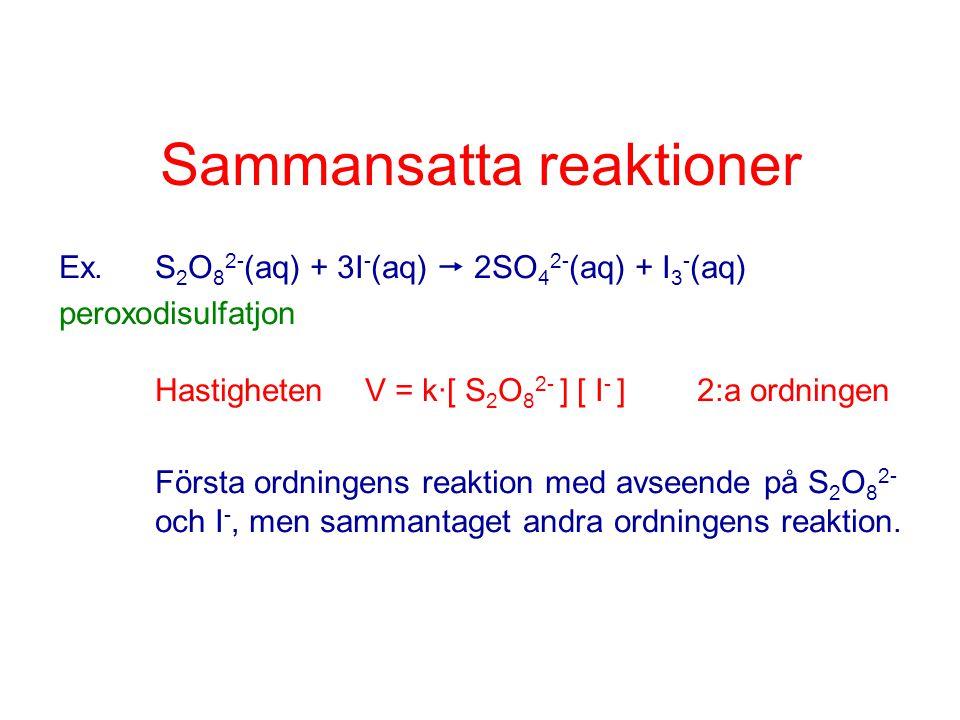 Sammansatta reaktioner Ex.S 2 O 8 2- (aq) + 3I - (aq)  2SO 4 2- (aq) + I 3 - (aq) peroxodisulfatjon Hastigheten V = k·[ S 2 O 8 2- ] [ I - ] 2:a ordn