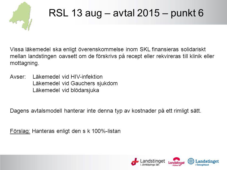 RSL 13 aug – avtal 2015 – punkt 6 Vissa läkemedel ska enligt överenskommelse inom SKL finansieras solidariskt mellan landstingen oavsett om de förskri
