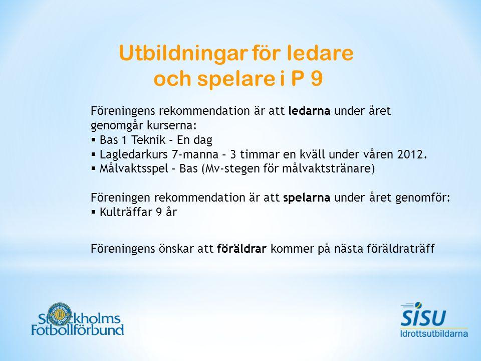Föreningens rekommendation är att ledarna under året genomgår kurserna:  Bas 1 Teknik – En dag  Lagledarkurs 7-manna – 3 timmar en kväll under våren 2012.