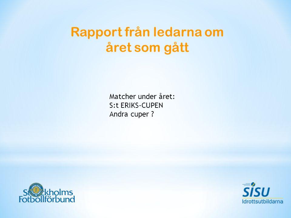 Rapport från ledarna om året som gått Matcher under året: S:t ERIKS-CUPEN Andra cuper