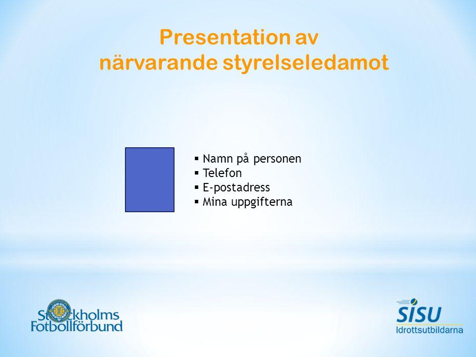 Presentation av närvarande styrelseledamot  Namn på personen  Telefon  E-postadress  Mina uppgifterna