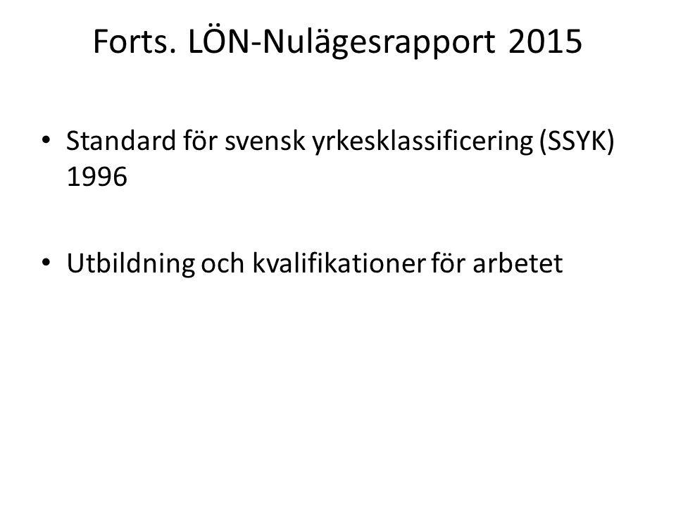 Forts. LÖN-Nulägesrapport 2015 Standard för svensk yrkesklassificering (SSYK) 1996 Utbildning och kvalifikationer för arbetet