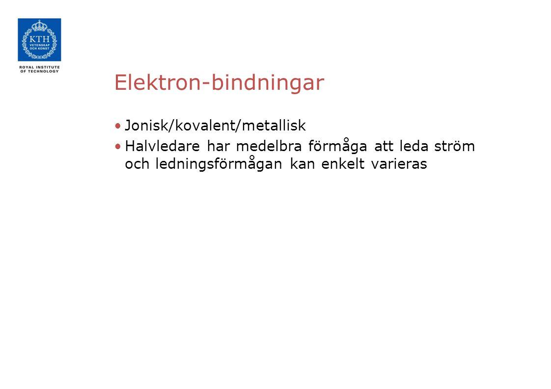 Elektron-bindningar Jonisk/kovalent/metallisk Halvledare har medelbra förmåga att leda ström och ledningsförmågan kan enkelt varieras