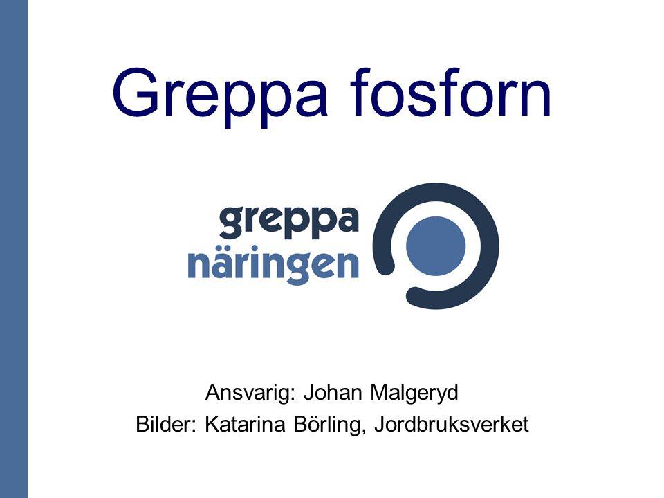 Greppa fosforn Ansvarig: Johan Malgeryd Bilder: Katarina Börling, Jordbruksverket