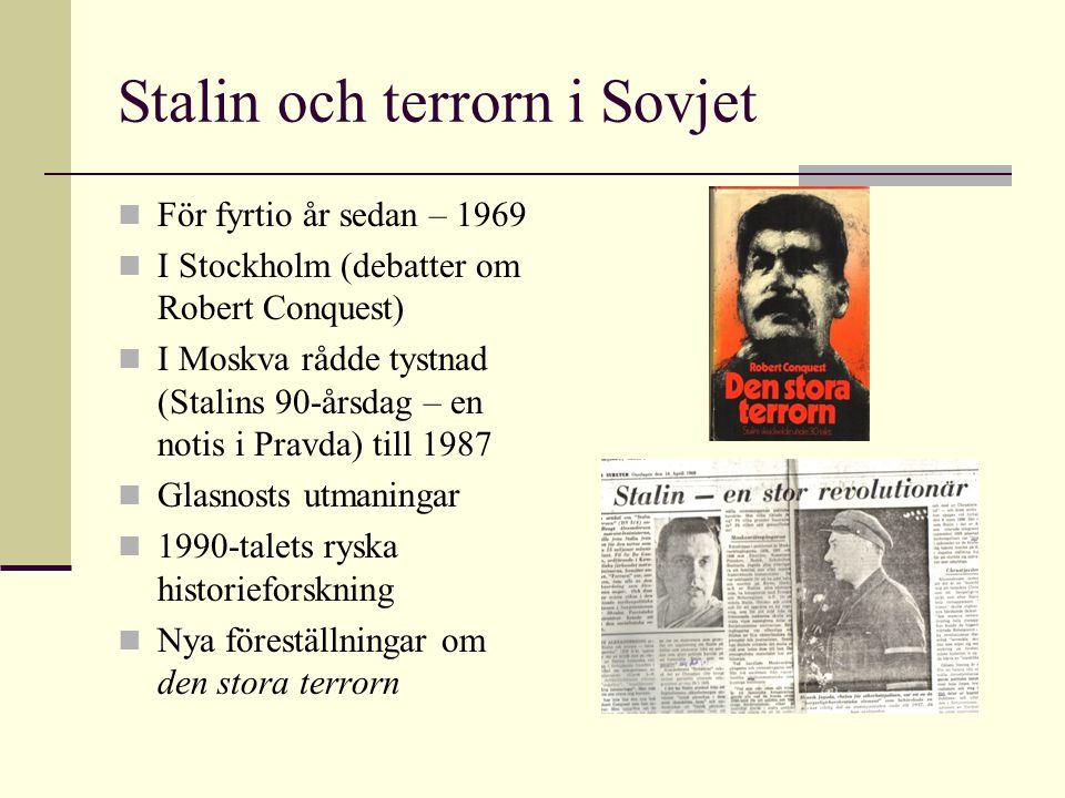 Stalin och terrorn i Sovjet För fyrtio år sedan – 1969 I Stockholm (debatter om Robert Conquest) I Moskva rådde tystnad (Stalins 90-årsdag – en notis