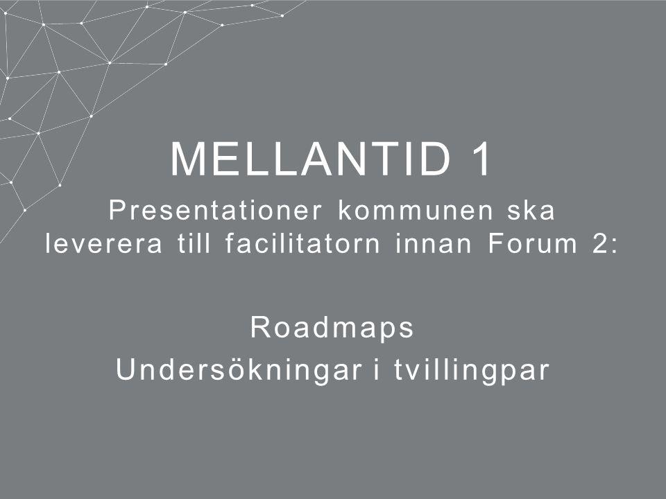 MELLANTID 1 Presentationer kommunen ska leverera till facilitatorn innan Forum 2: Roadmaps Undersökningar i tvillingpar