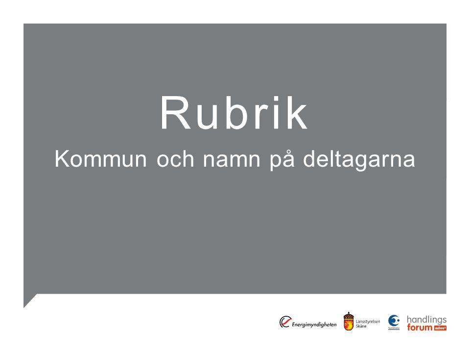 Rubrik Kommun och namn på deltagarna