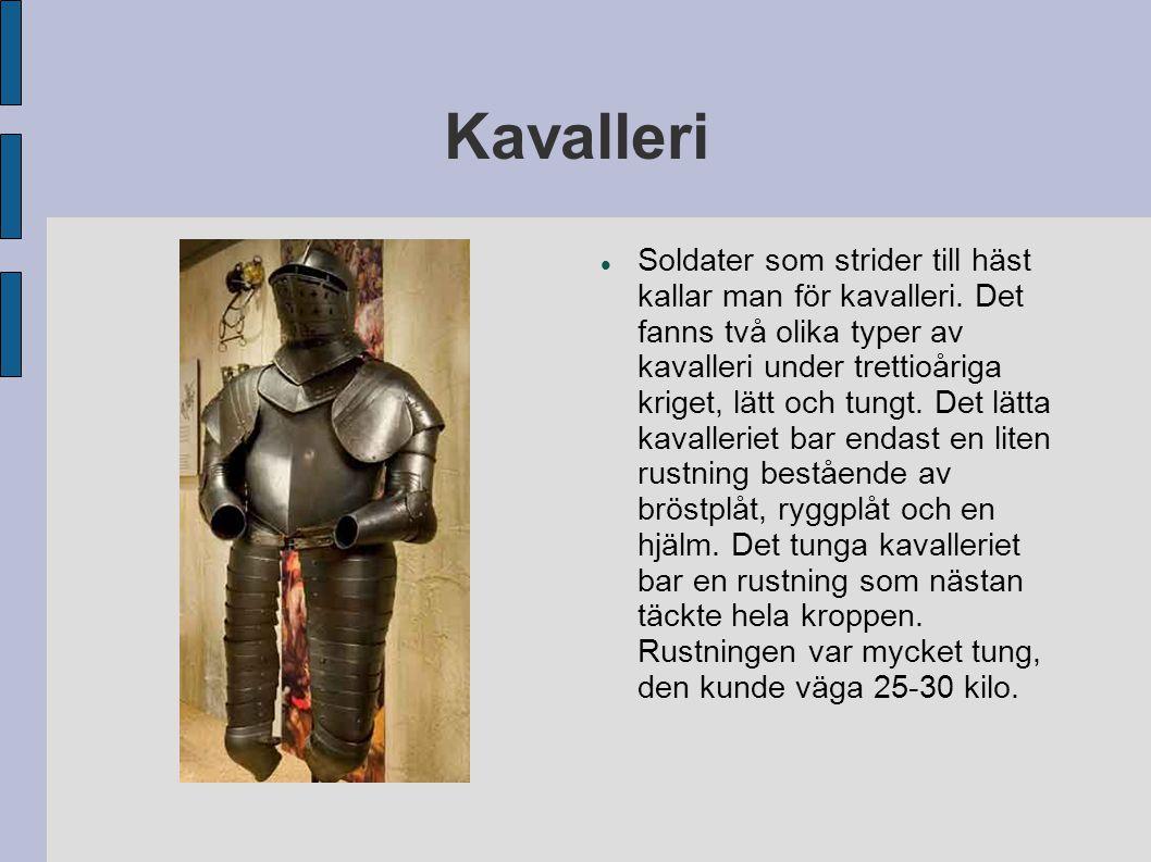 Kavalleri Soldater som strider till häst kallar man för kavalleri. Det fanns två olika typer av kavalleri under trettioåriga kriget, lätt och tungt. D