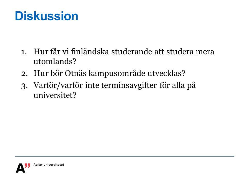 Diskussion 1.Hur får vi finländska studerande att studera mera utomlands? 2.Hur bör Otnäs kampusområde utvecklas? 3.Varför/varför inte terminsavgifter