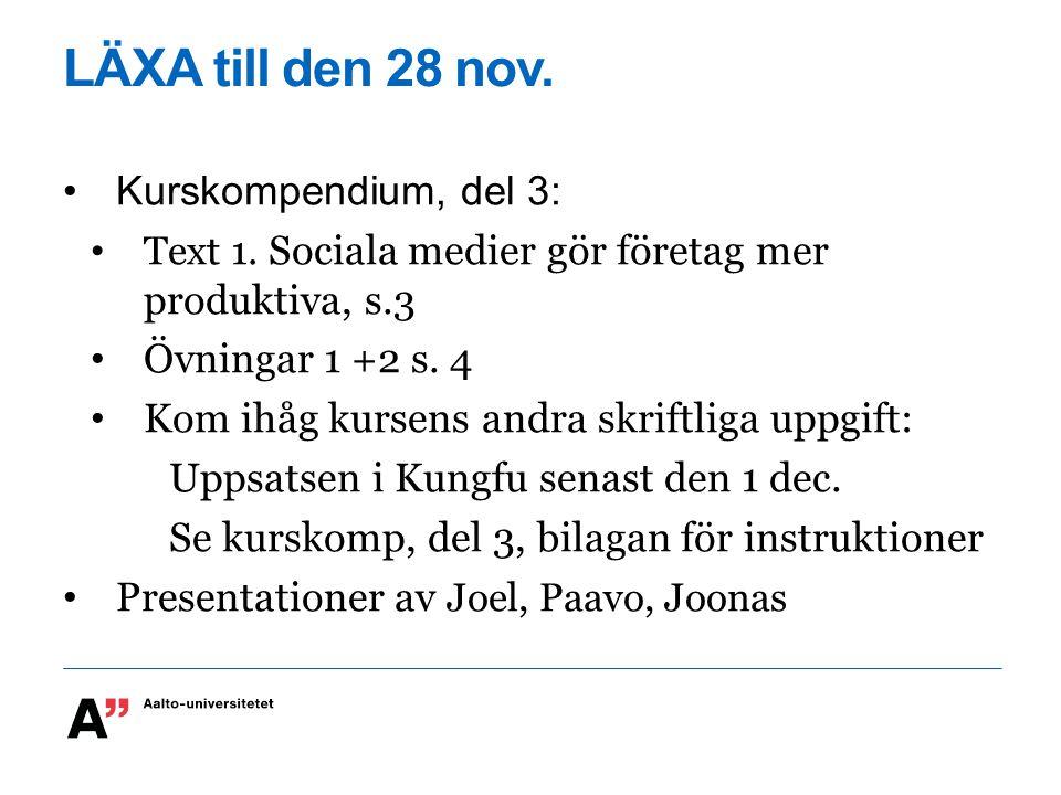 LÄXA till den 28 nov. Kurskompendium, del 3: Text 1.