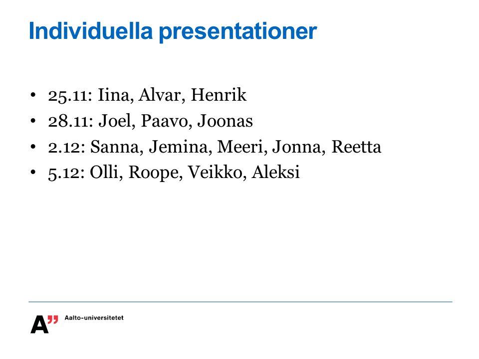 Individuella presentationer 25.11: Iina, Alvar, Henrik 28.11: Joel, Paavo, Joonas 2.12: Sanna, Jemina, Meeri, Jonna, Reetta 5.12: Olli, Roope, Veikko,