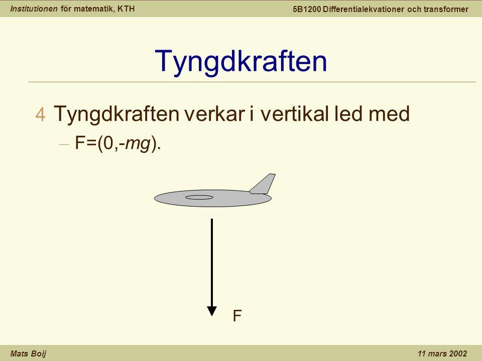 Institutionen för matematik, KTH Mats Boij 5B1200 Differentialekvationer och transformer 11 mars 2002 Tyngdkraften 4 Tyngdkraften verkar i vertikal le