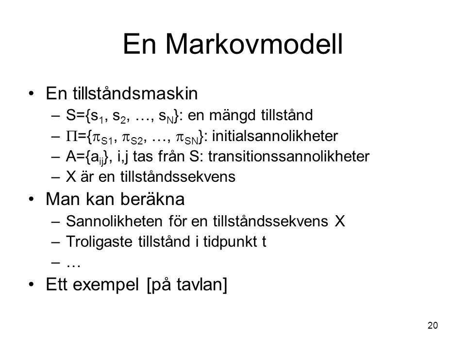 20 En Markovmodell En tillståndsmaskin –S={s 1, s 2, …, s N }: en mängd tillstånd –  ={  S1,  S2, …,  SN }: initialsannolikheter –A={a ij }, i,j t