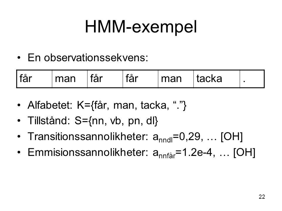 "22 HMM-exempel En observationssekvens: Alfabetet: K={får, man, tacka, "".""} Tillstånd: S={nn, vb, pn, dl} Transitionssannolikheter: a nndl =0,29, … [OH"