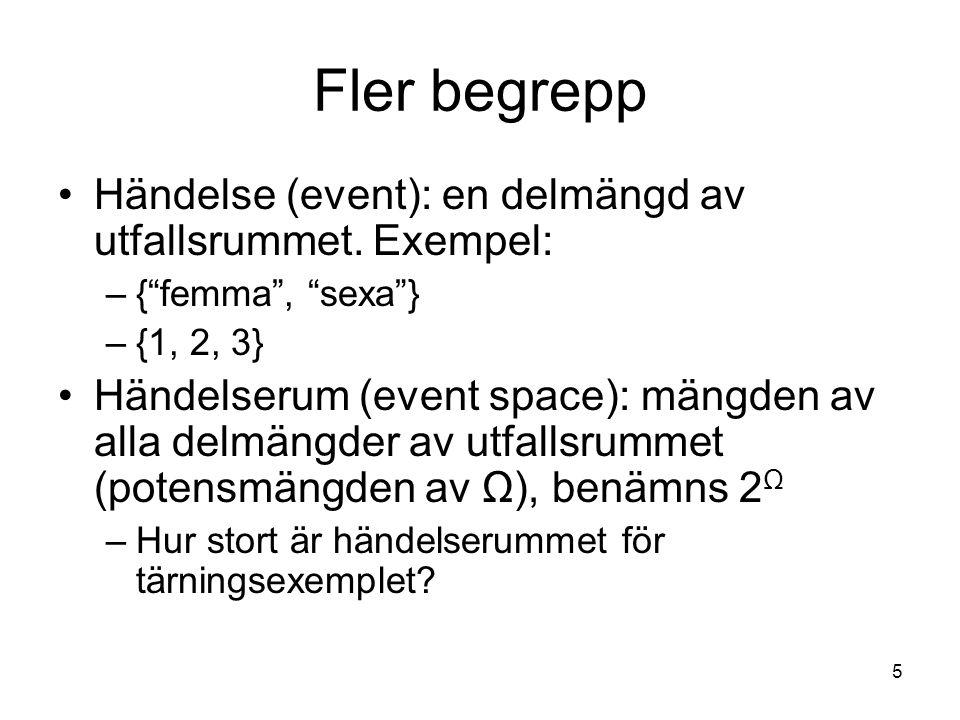 """5 Fler begrepp Händelse (event): en delmängd av utfallsrummet. Exempel: –{""""femma"""", """"sexa""""} –{1, 2, 3} Händelserum (event space): mängden av alla delmä"""