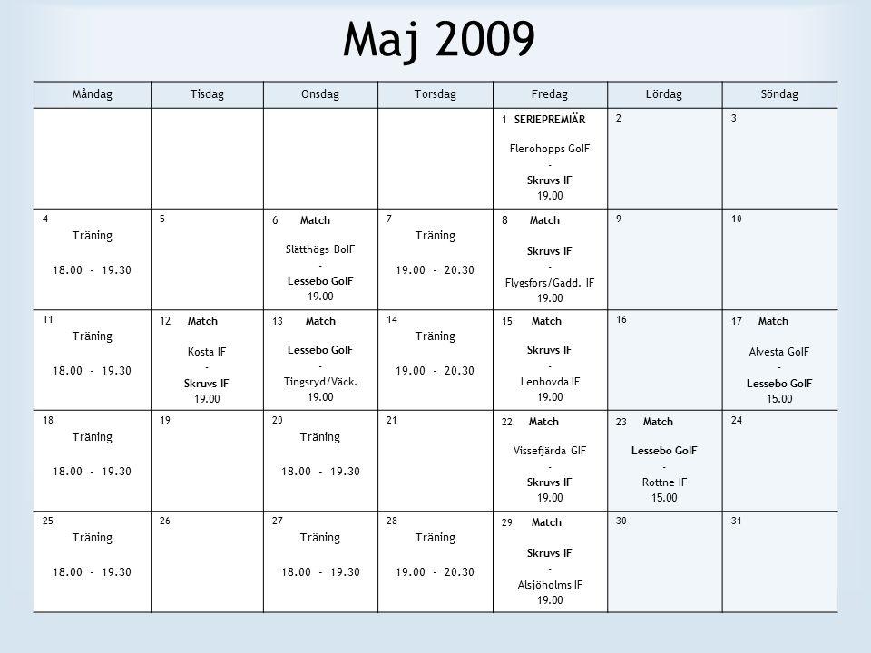 Maj 2009 MåndagTisdagOnsdagTorsdagFredagLördagSöndag 1 SERIEPREMIÄR Flerohopps GoIF - Skruvs IF 19.00 23 4 Träning 18.00 - 19.30 5 6 Match Slätthögs BoIF - Lessebo GoIF 19.00 7 Träning 19.00 - 20.30 8 Match Skruvs IF - Flygsfors/Gadd.