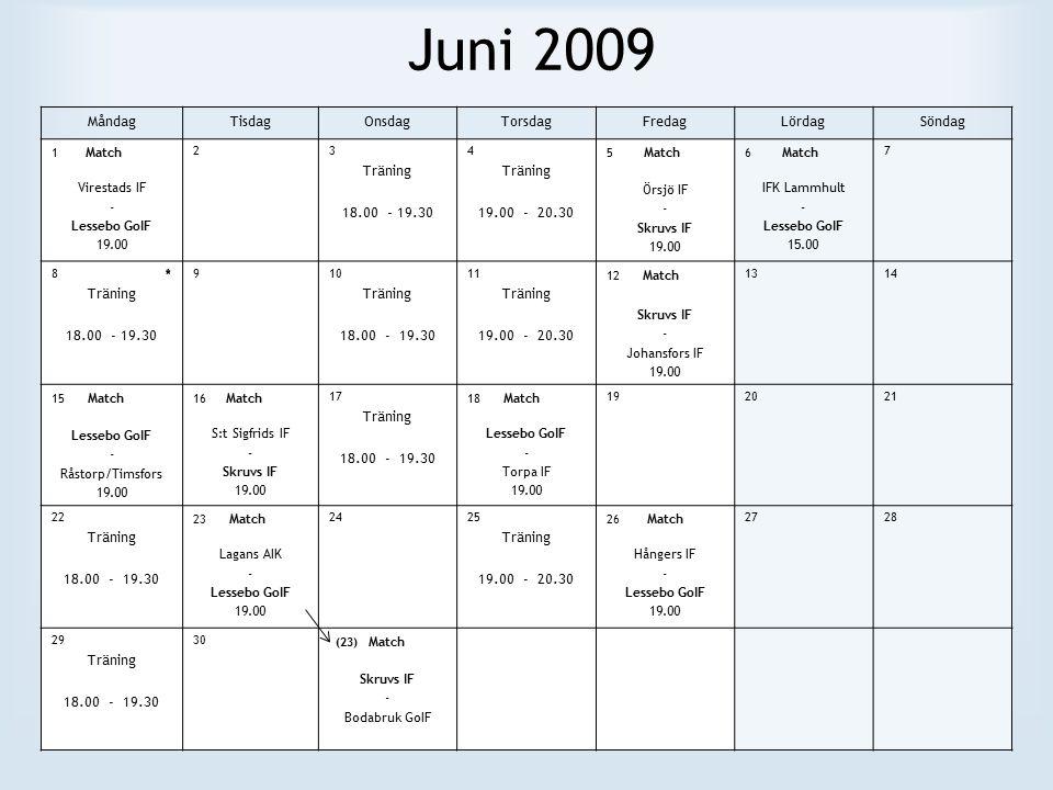 Juni 2009 MåndagTisdagOnsdagTorsdagFredagLördagSöndag 1 Match Virestads IF - Lessebo GoIF 19.00 23 Träning 18.00 - 19.30 4 Träning 19.00 - 20.30 5 Match Örsjö IF - Skruvs IF 19.00 6 Match IFK Lammhult - Lessebo GoIF 15.00 7 8 * Träning 18.00 - 19.30 910 Träning 18.00 - 19.30 11 Träning 19.00 - 20.30 12 Match Skruvs IF - Johansfors IF 19.00 1314 15 Match Lessebo GoIF - Råstorp/Timsfors 19.00 16 Match S:t Sigfrids IF - Skruvs IF 19.00 17 Träning 18.00 - 19.30 18 Match Lessebo GoIF - Torpa IF 19.00 192021 22 Träning 18.00 - 19.30 23 Match Lagans AIK - Lessebo GoIF 19.00 2425 Träning 19.00 - 20.30 26 Match Hångers IF - Lessebo GoIF 19.00 2728 29 Träning 18.00 - 19.30 30 (23) Match Skruvs IF - Bodabruk GoIF