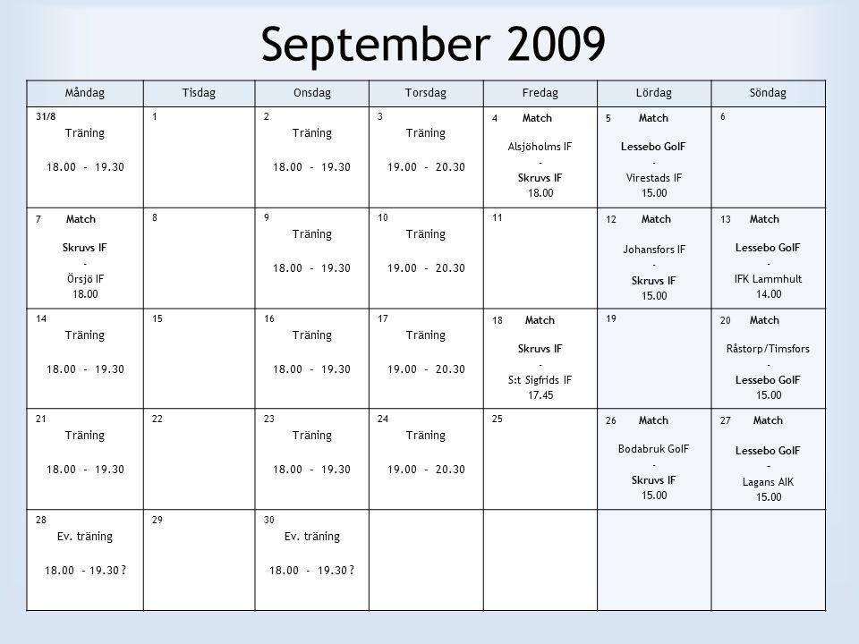 September 2009 MåndagTisdagOnsdagTorsdagFredagLördagSöndag 31/8 Träning 18.00 - 19.30 12 Träning 18.00 - 19.30 3 Träning 19.00 - 20.30 4 Match Alsjöholms IF - Skruvs IF 18.00 5 Match Lessebo GoIF - Virestads IF 15.00 6 7 Match Skruvs IF - Örsjö IF 18.00 89 Träning 18.00 - 19.30 10 Träning 19.00 - 20.30 11 12 Match Johansfors IF - Skruvs IF 15.00 13 Match Lessebo GoIF - IFK Lammhult 14.00 14 Träning 18.00 - 19.30 1516 Träning 18.00 - 19.30 17 Träning 19.00 - 20.30 18 Match Skruvs IF - S:t Sigfrids IF 17.45 19 20 Match Råstorp/Timsfors - Lessebo GoIF 15.00 21 Träning 18.00 - 19.30 2223 Träning 18.00 - 19.30 24 Träning 19.00 - 20.30 25 26 Match Bodabruk GoIF - Skruvs IF 15.00 27 Match Lessebo GoIF - Lagans AIK 15.00 28 Ev.