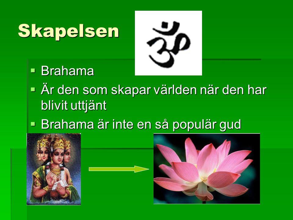 Skapelsen  Brahama  Är den som skapar världen när den har blivit uttjänt  Brahama är inte en så populär gud