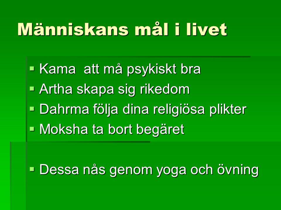 Människans mål i livet  Kama att må psykiskt bra  Artha skapa sig rikedom  Dahrma följa dina religiösa plikter  Moksha ta bort begäret  Dessa nås genom yoga och övning