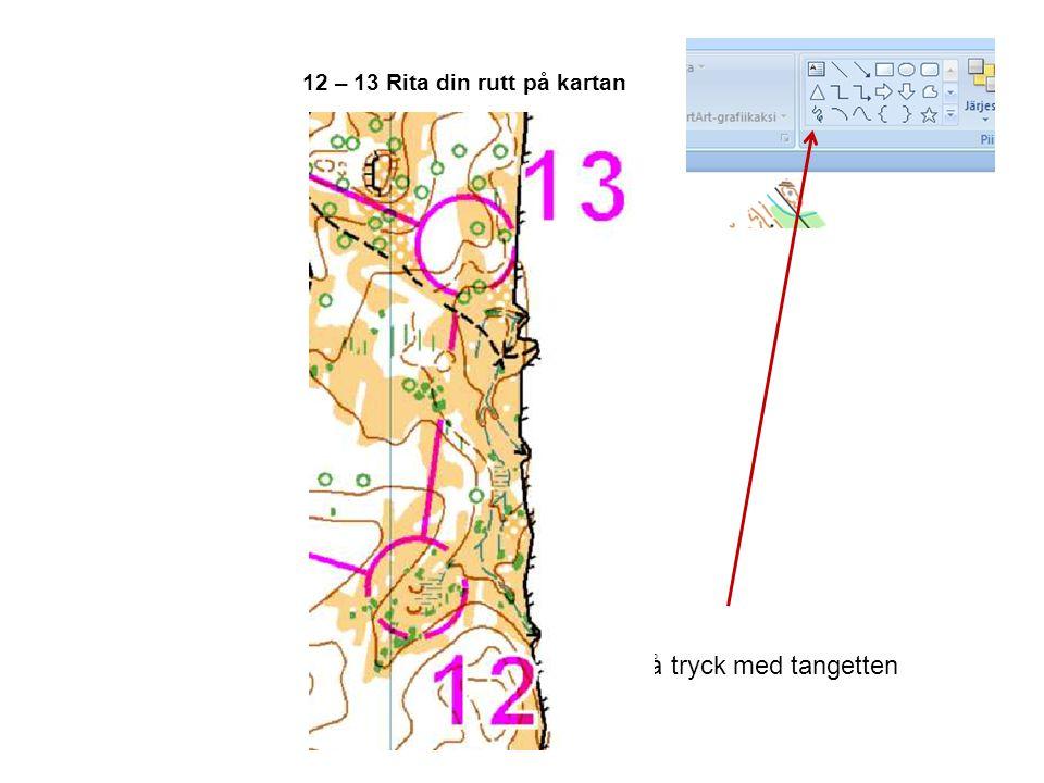 12 – 13 Rita din rutt på kartan OM och när du har diaspel på tryck med tangetten högra välj penna, mtsv Och rita