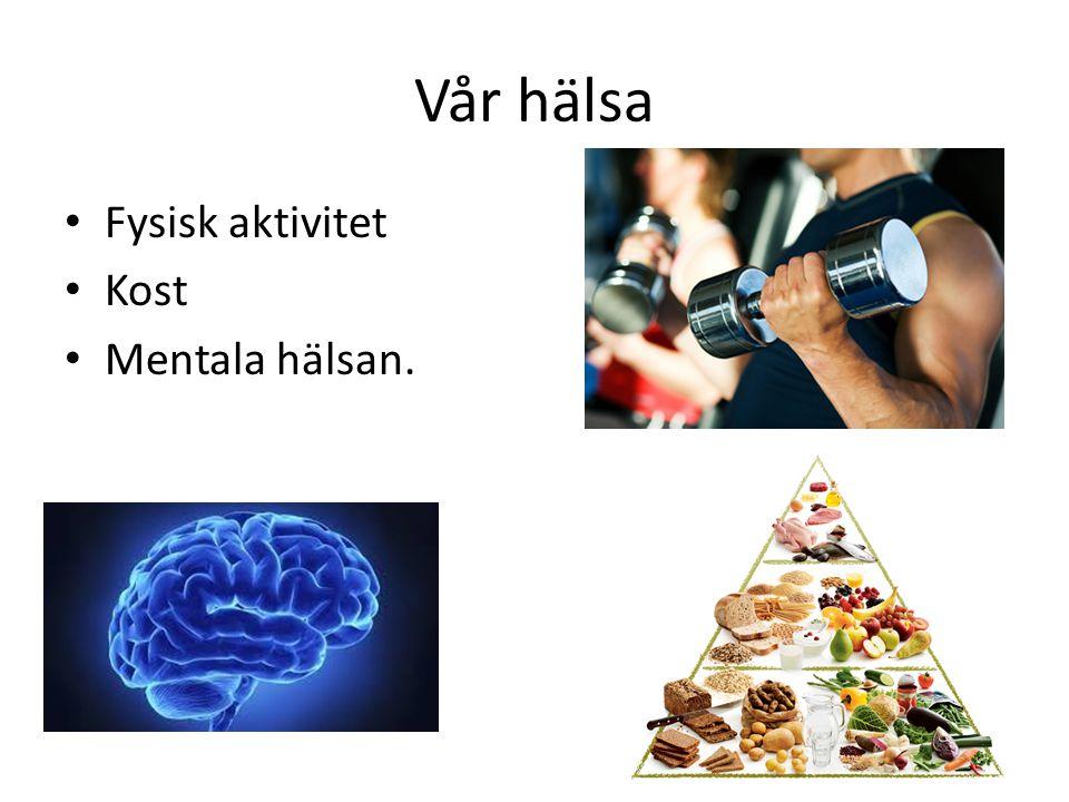 Vår hälsa Fysisk aktivitet Kost Mentala hälsan.
