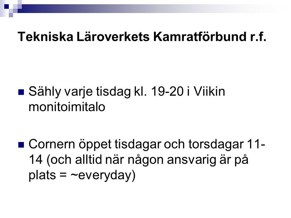 Tekniska Läroverkets Kamratförbund r.f.Sähly varje tisdag kl.