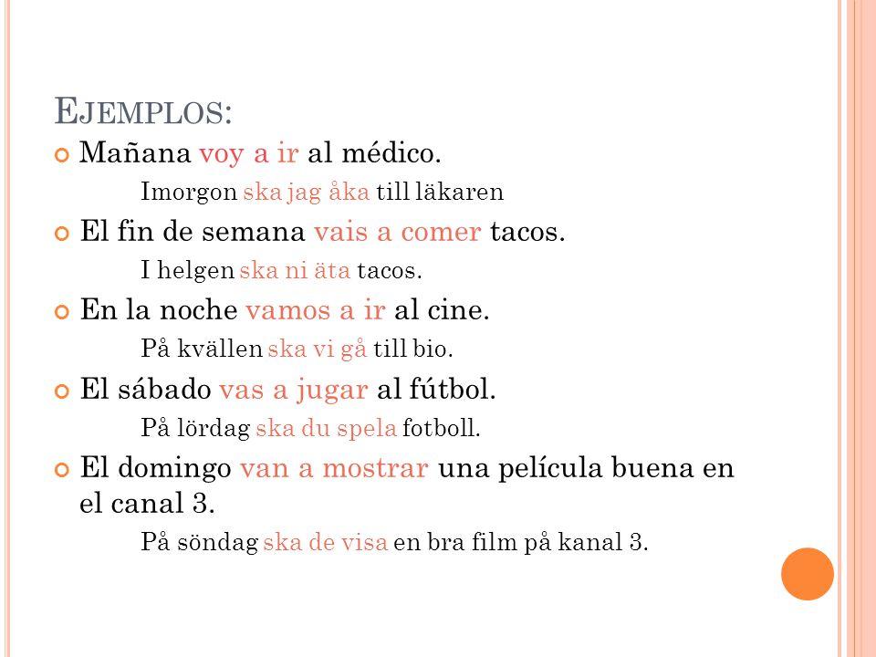 E JEMPLOS : Mañana voy a ir al médico. Imorgon ska jag åka till läkaren El fin de semana vais a comer tacos. I helgen ska ni äta tacos. En la noche va