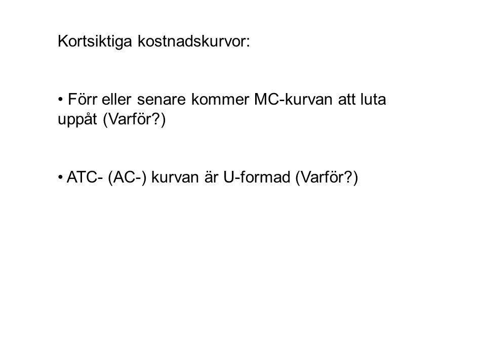 Kortsiktiga kostnadskurvor: Förr eller senare kommer MC-kurvan att luta uppåt (Varför?) ATC- (AC-) kurvan är U-formad (Varför?)