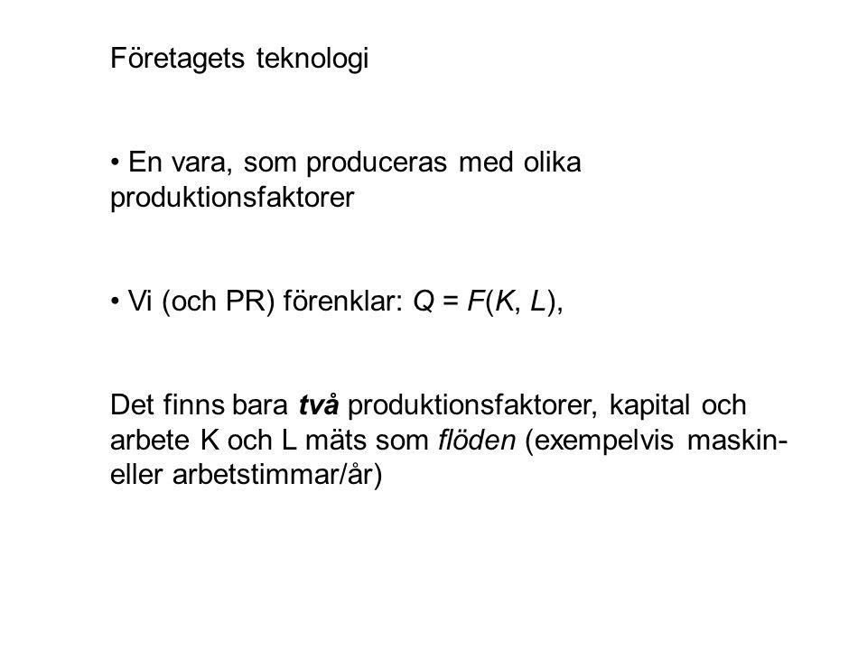 Företagets teknologi En vara, som produceras med olika produktionsfaktorer Vi (och PR) förenklar: Q = F(K, L), Det finns bara två produktionsfaktorer, kapital och arbete K och L mäts som flöden (exempelvis maskin- eller arbetstimmar/år)