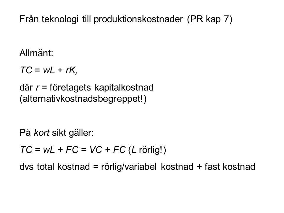 Från teknologi till produktionskostnader (PR kap 7) Allmänt: TC = wL + rK, där r = företagets kapitalkostnad (alternativkostnadsbegreppet!) På kort sikt gäller: TC = wL + FC = VC + FC (L rörlig!) dvs total kostnad = rörlig/variabel kostnad + fast kostnad